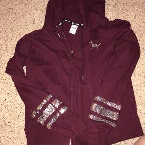 pink victoria secret zip up